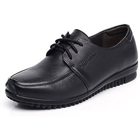 Size madre con scarpe basse/Scarpe in vera pelle/Medio fondo morbido