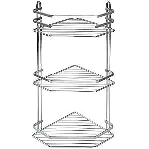 Jago–Etagère d'angle de douche chromé, 3niveaux, charge maximale de 24kg)