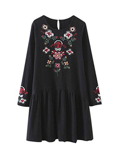 Azbro Women's Fashion Long Sleeve Floral Embroidery Pullover Dress Black