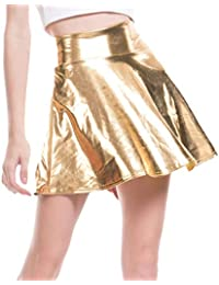 Mxssi Moda Casual para Mujer Acampanada Falda Plisada Skater Disco Aspecto Mojado Falda Corta Plisada Faldas Metálicas Brillantes