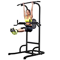 OneTwoFit Power Tower Adjustable Height Pull Up & Dip Station Multi-Function Home Strength Training Fitness Workout Station OT061
