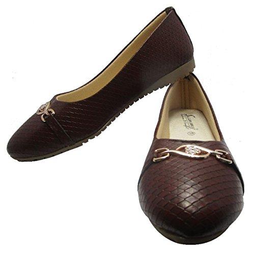 Sammy dérapant élégant des femmes sur ballerines chaussures plates ballet de chaussures casual Marron
