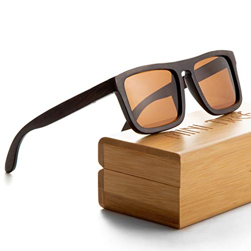 Mini Tree Vintage Bambus Sonnenbrille Polarisiert Sonnenbrille Bambus Damen Herren Sonnebrille Holz Verspiegelt 100% UV400 Schutz Outdoor Brille mit Etui Gross (Braun/Tee)