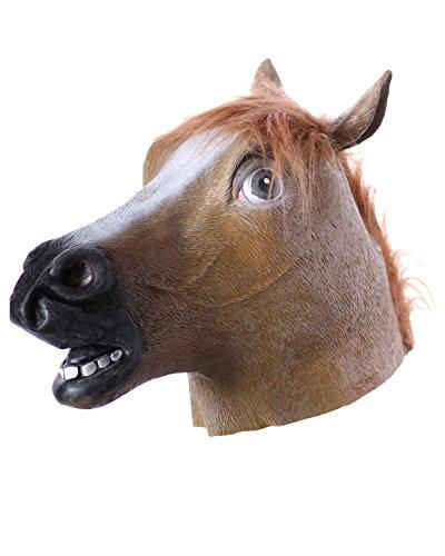 aske Pferdekopf Kostüm Fasching Karneval Tiermaske (Lustige Pferdekopf Kostüm)