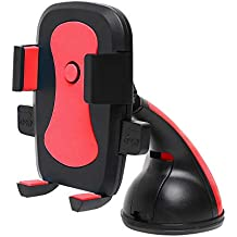 Amazon Brand - Solimo Classic Mobile Holder for Cars (360 Degree Rotation, Red)