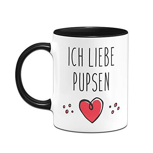 Tassenbrennerei Tasse mit Spruch Ich Liebe Pupsen, furzen Bürotasse Geschenk für Arbeitskollegen, Kollegin, Freundin Tassen mit Sprüchen lustig (Schwarz) - 2