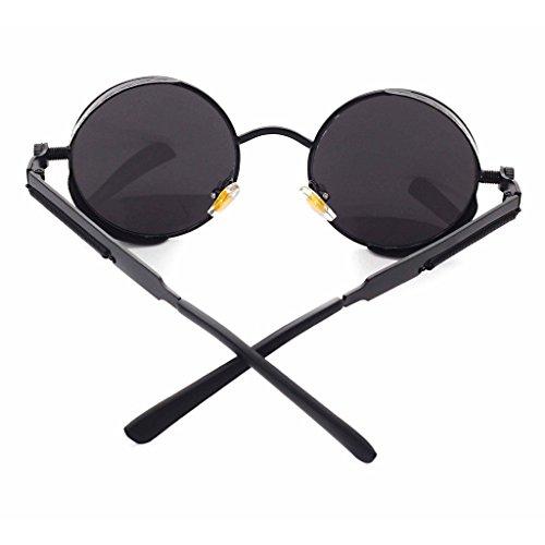Highdas Classique Punk Lunettes de soleil Circulaire r¨¦fl¨¦chissant Lunettes pour hommes et femmes Gris noir
