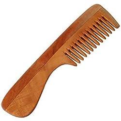 """HealthAndYoga(TM) Hechos a mano Neem Madera Peine - Anticaspa, no estático y Eco-amigable - Ideal para Cuero cabelludo y pelo salud -7"""" Ancho dentado con asa"""