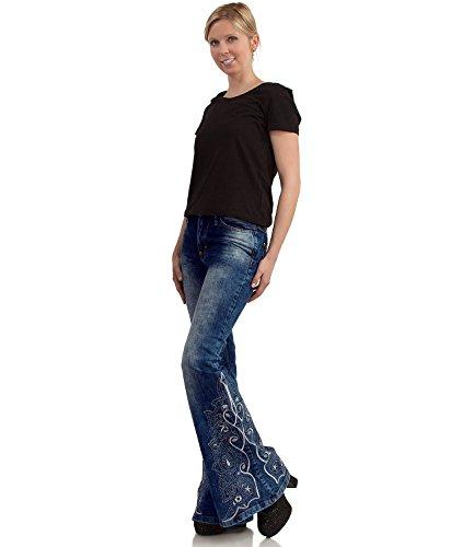 Hippie Jeans Schlaghose mit besticktem Schlag Blau