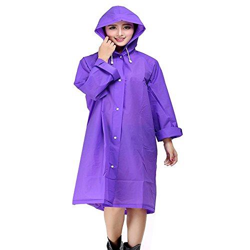 (Regenponcho Regenjacke Regenmantel für Männer und Frauen, EVA Poncho Tragbarer Umgebungslicht Regenmantel für das Fahrrad 145*70cm (lila))