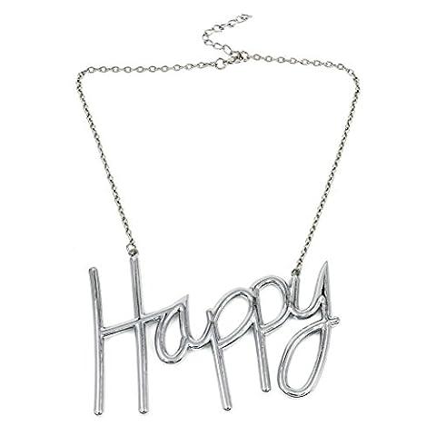 # 1170Lady Chic Mode Bijoux Argent de style fête Happy Pendentif Collier
