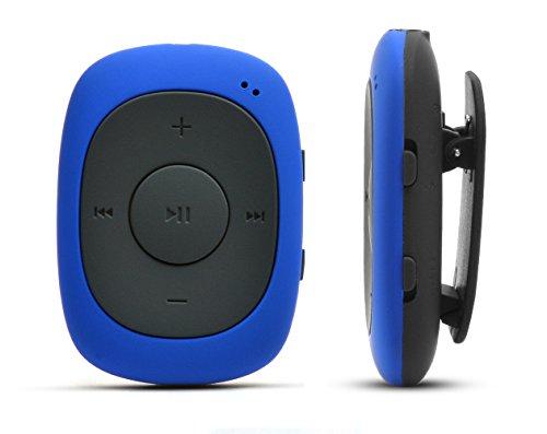 AGPtek ® Badge G02 Lecteur MP3 8Go Portable avec Pince, joueur avec Radio FM supportant les formats MP3, WMA WAV (Bleu)