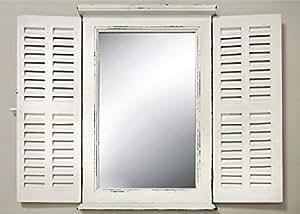 Génial Miroir en Ancien-Blanc avec Volets Biba Style hippie 71x89cm