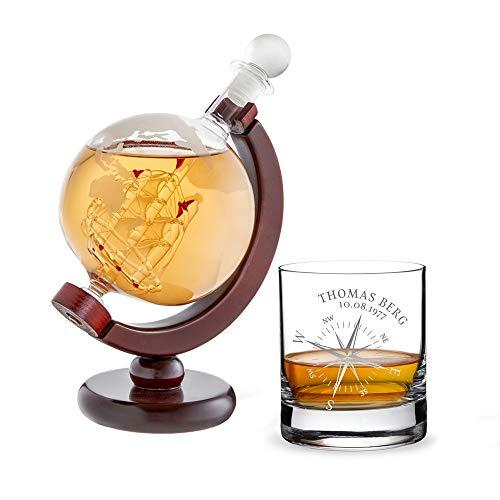 AMAVEL Set 2 pièces - Carafe Globe et Verre Tumbler à Whisky avec Gravure Personnalisée Nom et Date - Rose de Vents - Volume : 320 ML et 650 ML
