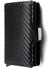 LOTHUS Porta Carte Di Credito Slim RFID 2a Generazione Portafoglio Uomo Donna Sottile Schermato Portamonete Tascabile Porta Tessere Fibra Di Carbonio Alta Qualità