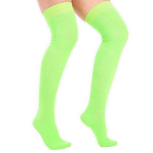 adam & eesa Womens Over the Knee Socks Stretch Thigh High Sizes UK 4-6.5 Fancy Dress Costume[Lime Green]