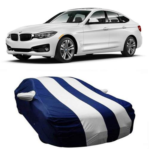 SHAH BROTHERS ENTERPRISES Triple Stitched Fully Elastic Water Resistant Polyester Car Cover with Mirror Pockets for BMW 3 Series GT (Strips White)
