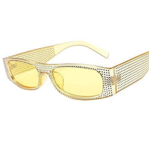 MOJINGYAN Sonnenbrillen,Nachahmung Diamond Sonnenbrille Frauen Square Strass Sonnenbrille Damen Rechteck Eyewear Schattierungen Gelb