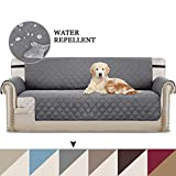Sofa Cover Reversible Quilted Furniture Protector with Adjustable Straps, Seat Width Up to 78' Couch Covers for Dogs, Microfiber Soft and Water-repellent Oversize Sofa Slipcover (4 Seater: Grey/Beige)