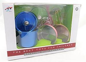 Allkindathings - Juego de ollas y Accesorios de Cocina de Acero Inoxidable para niños