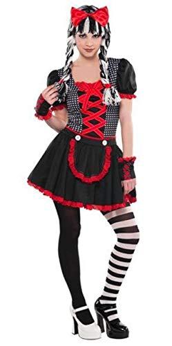 Fancy Me Mädchen Teen schwarz rot weiß gruselig unheimlich Gothik Puppe 4 Stück Halloween Karneval Kostüm Kleid Outfit 10-16 Jahre - 10-12 Years (Glovelettes Kostüm)