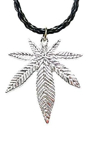 Bdj Argenté Pendentif feuille de pot de fleurs Cordon collier 40,6cm + 5,1cm (Plpn01)