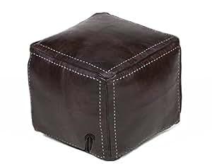Pouf carré marron chocolat en cuir surpiqué