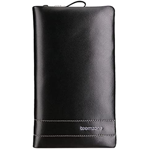Teemzone Uomo frizione del cuoio genuino / raccoglitore del telefono / cassa della borsa / organizzatore sacchetto della carta