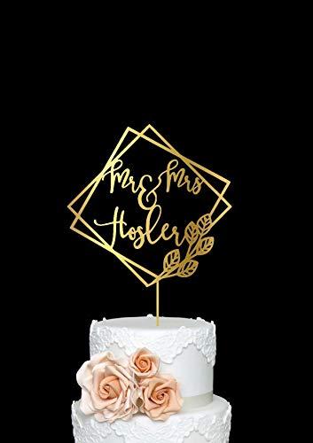 Andrea1Oliver Benutzerdefinierte Hochzeit Moderne geometrische Cake Topper Herr und Frau mit Nachname personalisierte Holz Cake Topper Rose Gold Hochzeitsdekoration