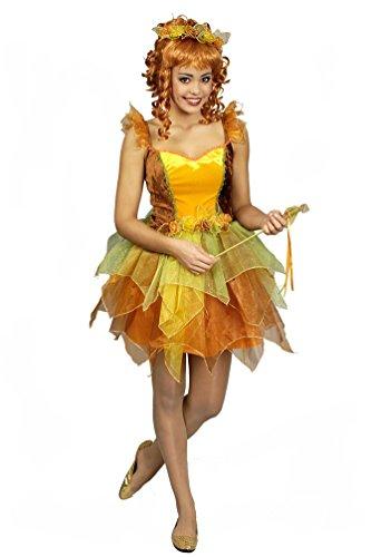 (Karneval-Klamotten Waldfee Kostüm Damen Fee Kostüm Elfe-n Kostüm Damen mit Blumenkranz und Stäbchen Damen-Kostüm Größe 40/42)
