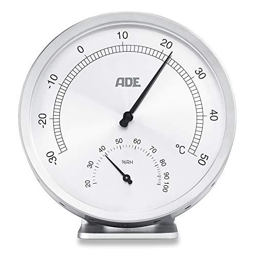 Thermometer-abdeckungen (ADE Analoges Thermo-Hygrometer WS 1813 (Mechanisches Thermometer mit Hygrometer, aus Edelstahl mit Abdeckung aus Glas, 11,5 cm Durchmesser) silber)