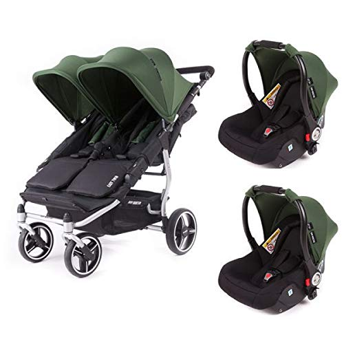 Poussette double Baby Monsters Easy Twin 3S Reversible - Chassis Silver + 2 sièges auto Luna Forest