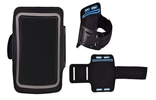Design Sport-armband Tasche in Schwarz für HTC Desire 10 Pro Neopren Anti Rutsch mit Reflektion Schlüssel / Kopfhörer Halter Reißverschluss und 2 Einstellungsmöglichkeiten