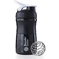 BlenderBottle Sportmixer - Botella de agua y mezcladora, 590ml (1 x 590ml), Negro/Blanco