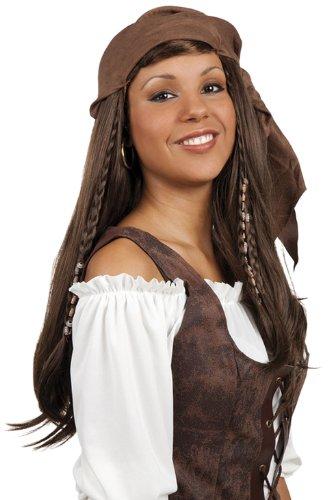 Boland 86383 - Perücke Piratin Langhaar braun, mit Bandana (Machen Sie Eine Piraten Kostüm Frauen)