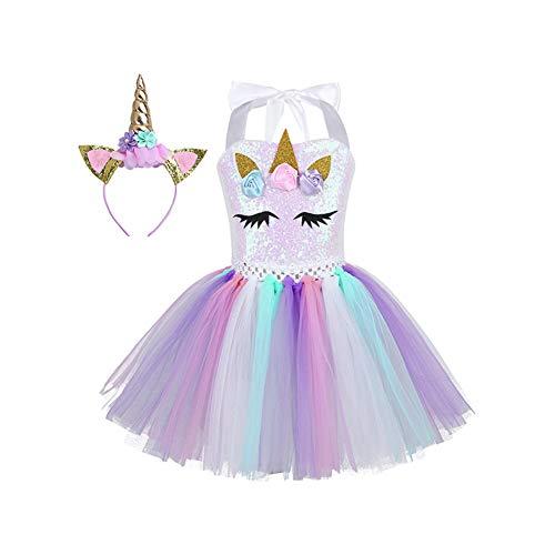 YOUYE Kinder Mädchen Cartoon Cosplay Kleid 3D Blumen Shiny Pailletten Mesh Tutu Kleid mit Haarband für Halloween Party Kostüm Kleid,7T