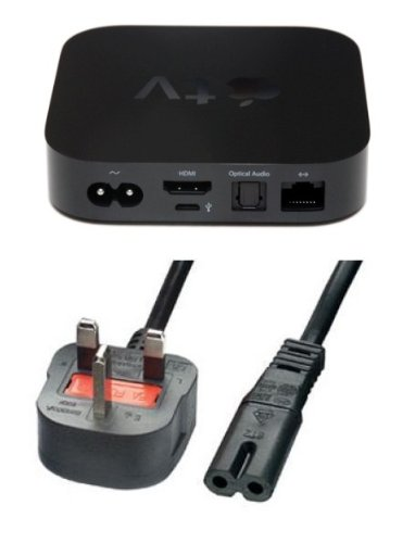 Invero® UK 3 Pin Power Mains Adapter Lead for Apple TV - (Black)