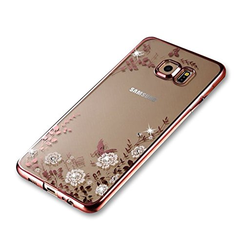 Samsung Galaxy S7 Edge TPU Silikon Handy Hülle Schutzhülle, Bling Glitzer Sparkles Strass Diamond Crystal Clear Case für Samsung Galaxy S6 Edge, Electroplate Plating Frame Scratch-Resistant Bumper Soft Rückseite Cover Tasche für Samsung Galaxy S7 Edge + 1 x Frei Displayschutzfolie
