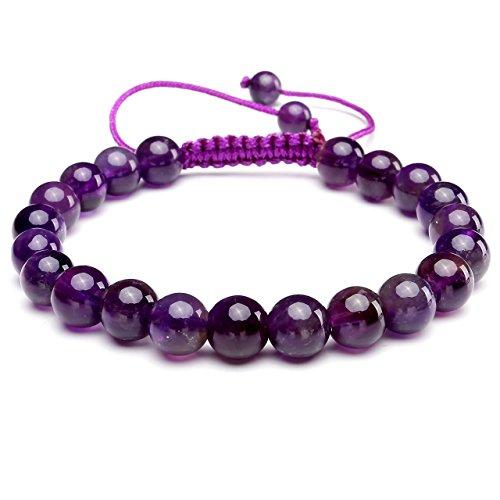 Unisex Women's Handmade Macrame Tassels Natural Healing Energy Reiki 8mm Gemstone Crystal Beads Bracelet, 6.5 Inches