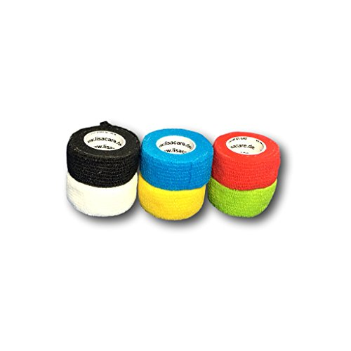 lisa-care-finger-plasters-set-of-6-25cmx45m-mix-cohesive-bandage-vet-wrap-vetrap-bandages-adhesive-b