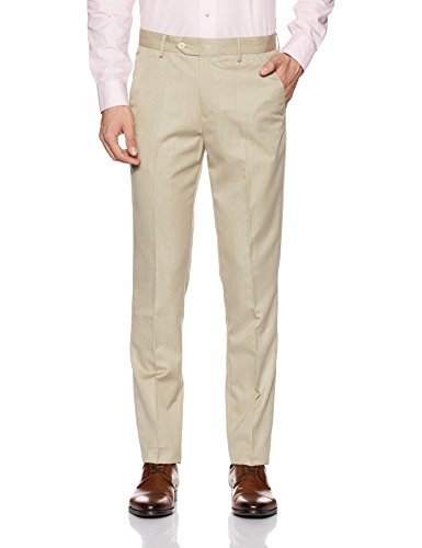 Peter England Men's Formal Trousers (8907609897104_PTF41700722_32W x 33L_Light Khaki Solid)