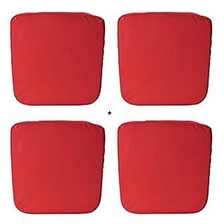 AiO-S - OK Sitzkissen Outdoor 4er Set Stuhlkissen für Innen und Außen ca. 46x46x4,5cm rot