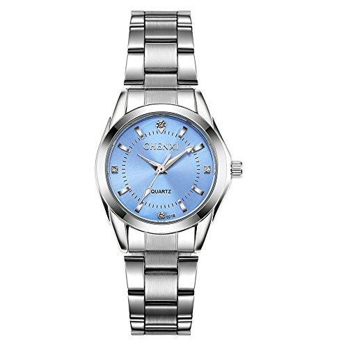 Frauen Uhren Casual Fashion Wasserdicht Uhren Diamant Strass Handgelenk Quarz Armbanduhr–hellblau