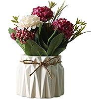 FJROnline Ramo de Flores Artificiales de Seda para hortensias en jarrón de cerámica para decoración del