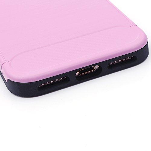 iProtect TPU Coque de protection Apple iPhone 5, 5s, SE Carbon Case brossé noir rose