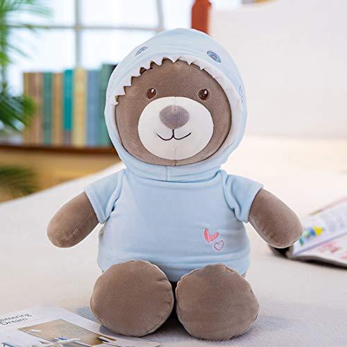 hokkk Niedliche Pullover Bär Puppe 35cm-60cm Teddybär Plüschtier Kinder Schlafkissen Puppe Geburtstagsgeschenk weiblich 35 cm Hai (Pullover Hai-hund)