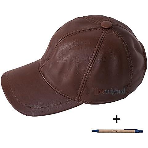 Dazoriginal Gorra Béisbol de cuero, Gorra de Béisbol, sombrero cuero, Gorra de Cuero, Cap, Cuero hombre, el gorro, gorro con viseragorras, Sombrero de deporte, (Marron / Brown Leather Baseball Cap)