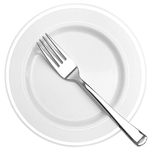 125/50 Stück Kunststoff Teller mit goldenem Silberrand Service für 25 Gäste, 25 Einweggeschirr mit 25 Speisetellern, 25 Desserttellern, optional 25 Gabeln, 25 Messer, 25 Löffel Plates and Forks silber (Schwergewichts-kunststoff-teller)