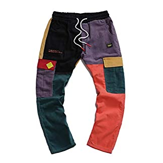 Pantalones de Trabajo de Hombre,Jeans Vaqueros Pantalones Casuales Moda Original Pants Jogging Fitness Hip Hop Pantalones Patchwork Chandal Hombre Largos Pantalones Pantalones de Trekking vpass