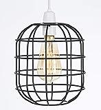 Petite cage de style rétro lumière pendentif en métal Abat-jour, Funky moderne rustique rustique industriel Look vintage, abat-jour - noir